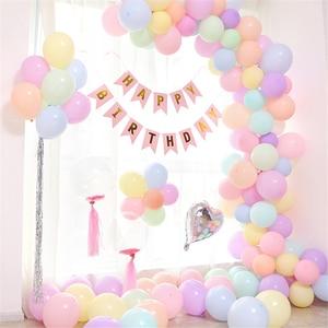 100pcs Macaron Balloons Pastel Party Latex Balloon Garland Colorful Candy Birthday Wedding Party Decoration Balloon Arch JL0137(China)