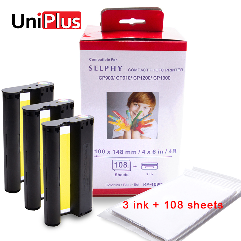 UniPlus for Canon Selphy Color Ink Paper Set Compact Photo Printer CP1200 CP1300 CP910 CP900 3pcs Ink Cartridge KP 108IN KP-36IN