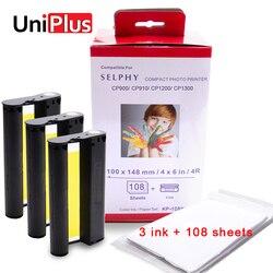 Uniplus para canon selphy cor tinta conjunto de papel compact photo printer cp1200 cp1300 cp910 cp900 3 peças cartucho de tinta kp 108in KP-36IN