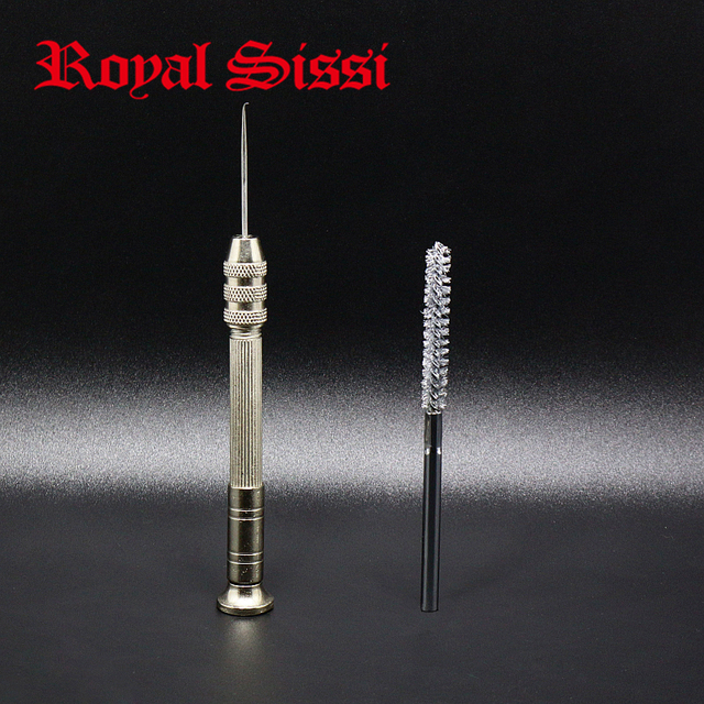 RoyalSissi new developed 1set fly tying dubbing brush tools stainless wire bristle brush&curved tip bodkin fly tying tools combo