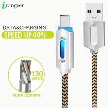 LED USB Cable de tipo C para Xiaomi Redmi Nota 7 10 de sincronización de datos de carga rápida USB C Cable para Samsung Galaxy S20 S10 Oneplus 6t tipo C