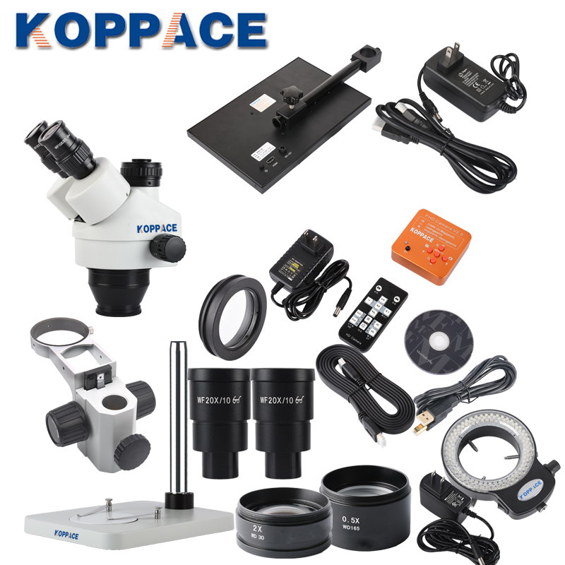 KOPPACE 3.5X-180X Trinocular Stereo Mobile Phone Repair Microscope 2 Million Pixels Microscope Camera 13.3 inch Display Screen
