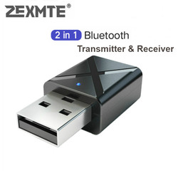 ZEXMTE 2 in 1 Wireless USB Bluetooth Transmitter Receiver for car Wireless Audio Adapter Extender for Home Stereo Speakers
