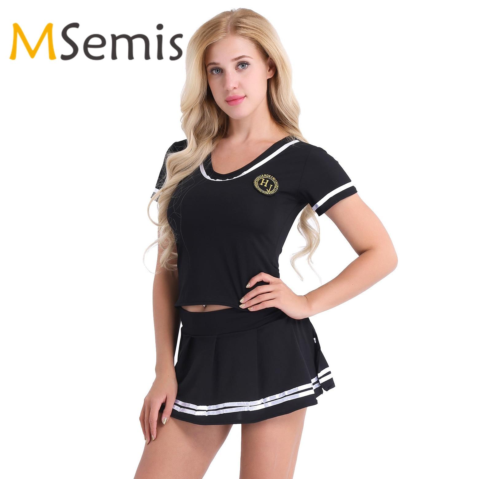 Women Girls Cheerleader Costume Lingerie Cheerleading T-shirt Top With Mini Skirt And G-string Underwear Sailor Sports Costume