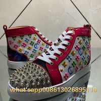 High Top Low red rose Red embroidery Patent Leather Glitter rivet Red bottom Shoes for Men Sneakers Loafers Footwear Autumn38 46