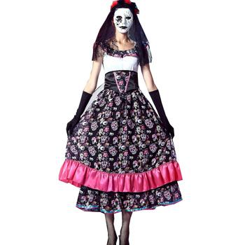 Dzień zmarłych sukienka straszny Halloween zwłoki strój panny młodej dorosłych kobiet karnawał lalka czaszka kości Horror śmierć strój tanie i dobre opinie FancyQube WOMEN Szkielet Poliester As shown One size Dress+gloves+head accessory+waist belt Day Of Dead Skull Skeleton Bone Printed