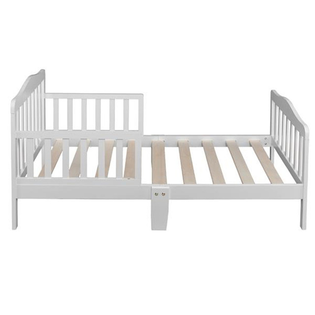 Wooden Baby Toddler Bed Children Bedroom Furniture with Safety Guardrails White 4