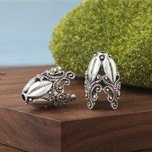 2 pçs oco flor liga grânulos bonés para fazer jóias descobertas cor prata bonés para colar brincos pulseira componentes diy