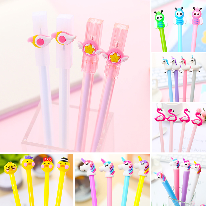 Korean Kawaii Flamingo Gel Pen Unicorn Bee Cat Paw Whale Vegetable Cute Kawai Stationery School Thing Material Kit Accessory Bts