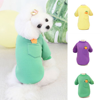 Cartoon Carrot Dog Sweater Thicken Fleece Dog Cat Clothes Warm Clothing For Small Medium Dogs Cute Turtleneck Dog Sweatshirt image