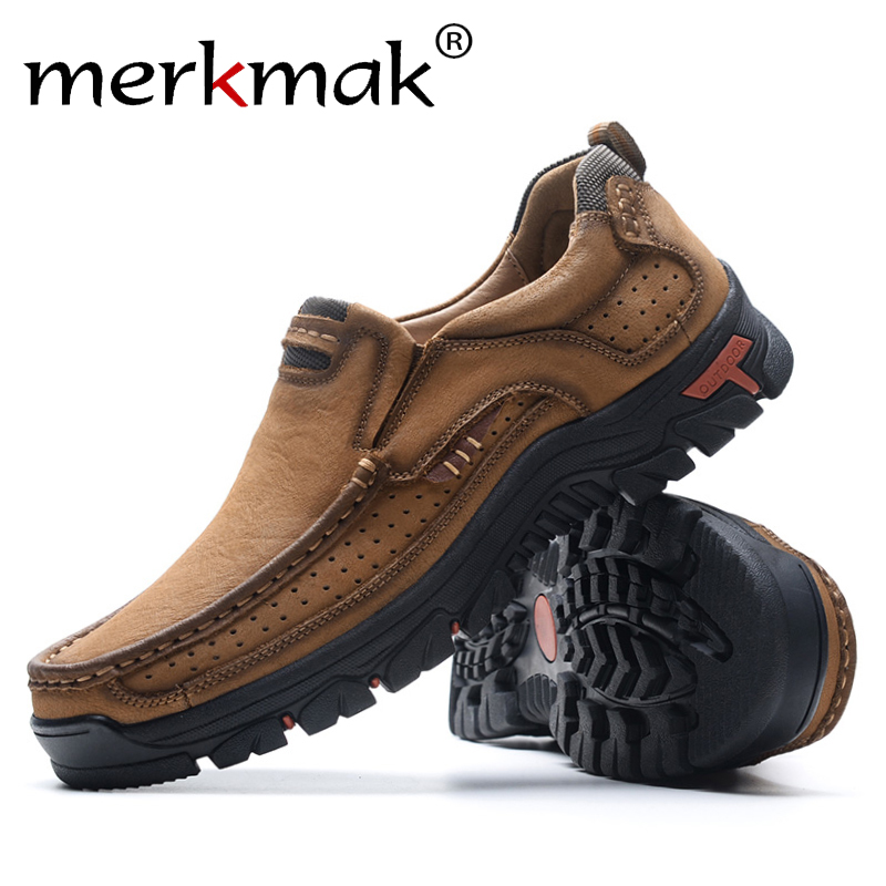 Merkmak Men Casual Shoes Breathable Genuine Leather Leisure Footwear Men Slip-On Outdoor Man Shoes Anti-skid  Flats Loafers