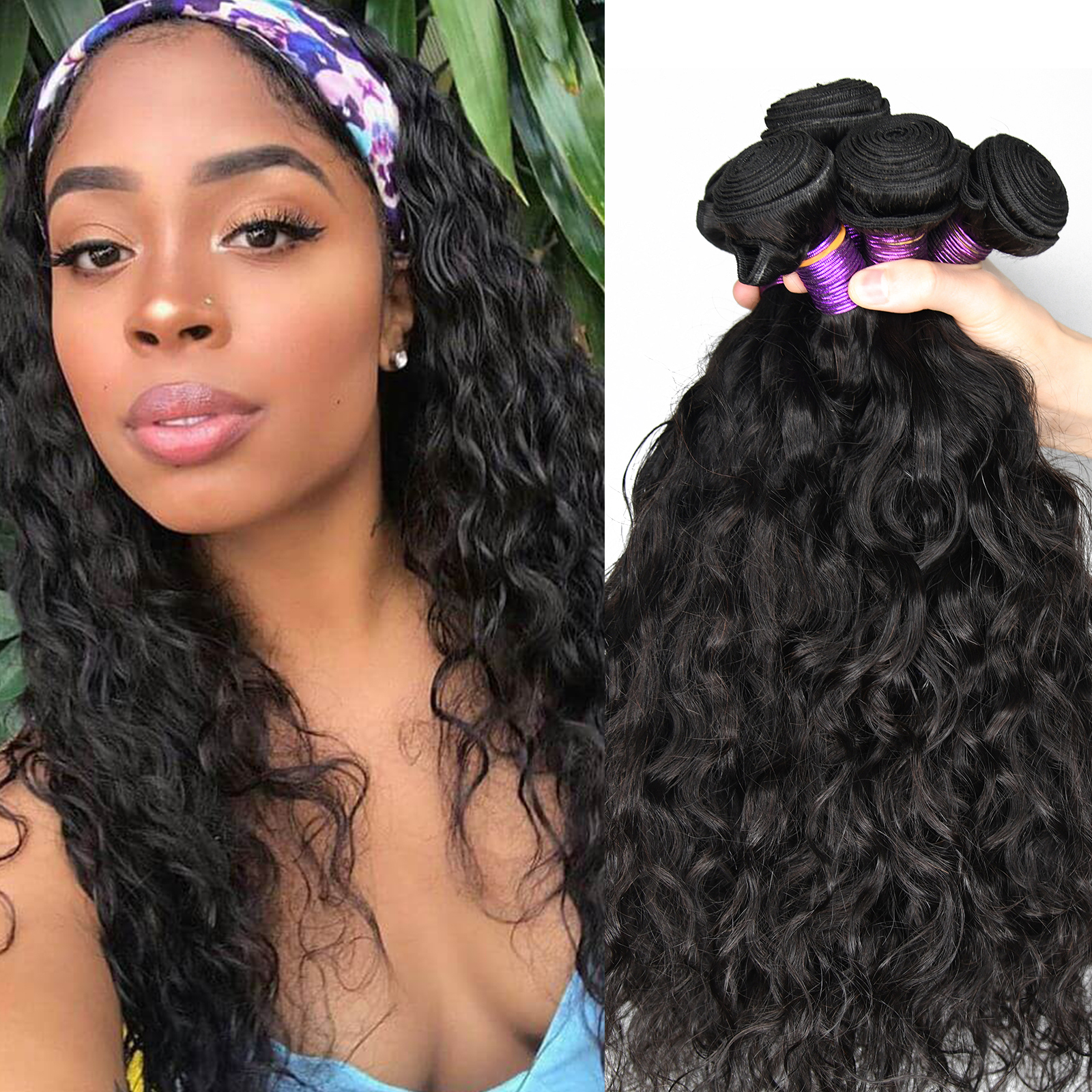 Paruks-mechones de cabello indio crudo, cabello Natural ondulado 100%, cabello virgen humano tejido, paquetes de cabello al mayor mechones, extensiones para mujer negra