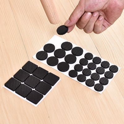 32Pcs Black Self Adhesive Furniture Chair Protectors Feet Leg Pads Caps Floor Table Covers For 20-90MM Square Round Non-slip Mat