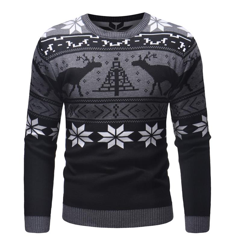 2019 Spring Autumn High Quality O-neck Men Sweater Deer Print Casual Slim Male Computer Knitted Pull Homme Youth Teens XXL