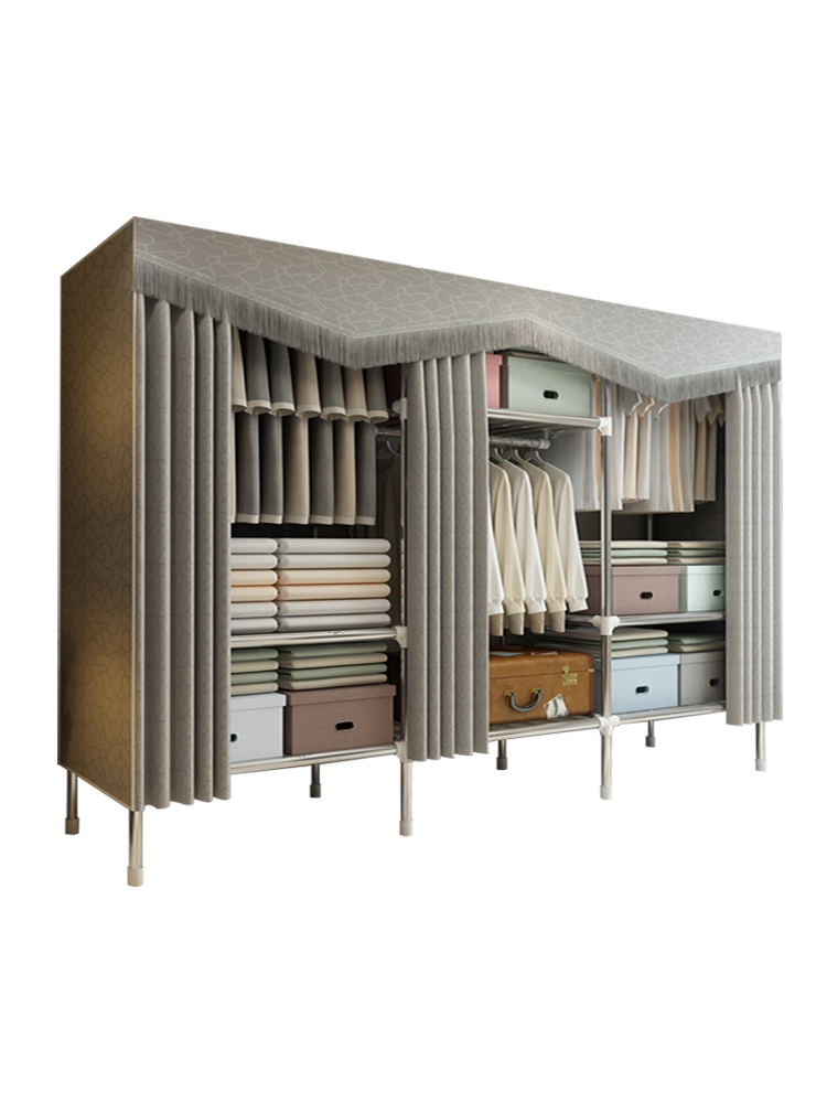 Wardrobe Simple Cloth Wardrobe Steel Pipe Bold Reinforced Simple Wardrobe Thickened Oxford Cloth Home Wardrobe