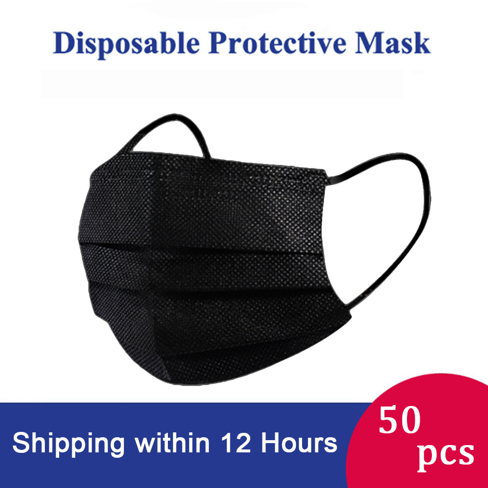 50PCS Black Disposable Masks Non-Woven Melt-blown Fabric Masks 3-Layer Face Mouth Mask Anti-dust Breathable Mask Upgrade Version