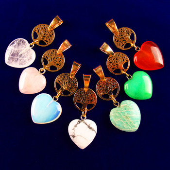 Mixed Natural Gemstones Heart Tibetan Gold Life-tree Pendant Bead 20x20x6mm/15x1mm Length:50mm image