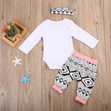 Infant 3PCS Elephant Set Autumn Long Sleeve Romper Tops+ Pant Trouser Headband Outfits Newborn Baby Boy Girl Clothing 0-24M(China)