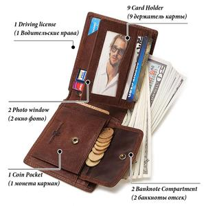 Image 5 - GZCZ Rfid 100% Genuine Leather wallet men credit card Purse portofolio slim wallets vallet Card Holder walet for women 2020