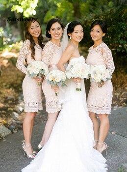 Sexy Bridesmaid Dresses Vestido De Festa De Casamento Knee Length Lace Sheath Bridesmaid Dress Wedding Party Gowns фото
