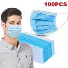 100 pièces masques de bouche visage 3 couche sûr filtre masque Anti-pollution jetable Non tissé masque respirant protecteur Mascarillas