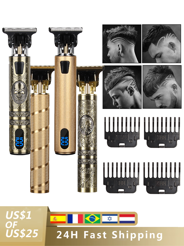 Usb-Hair-Trimmer Shaver Cutting-Machine Barber Electric-Hair-Clipper Cordless Gold Black