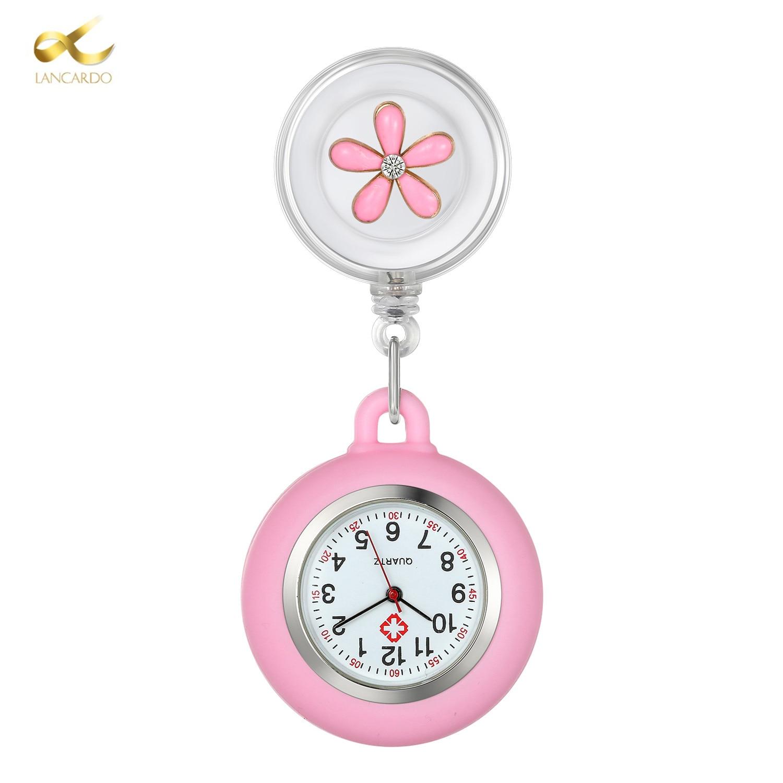 LANCARDO Nurse Watch Fashion Lady Girls Pocket Watches Hang Clip Portable Doctor Medical Charm Jewelry Flower Pendant