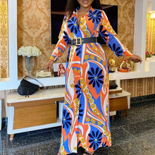Women Fashion Printed Shirt Dresses with Waist Belt Long Sleeves Turn Down Collar African Female Vestidos New Plus Size XL Robes