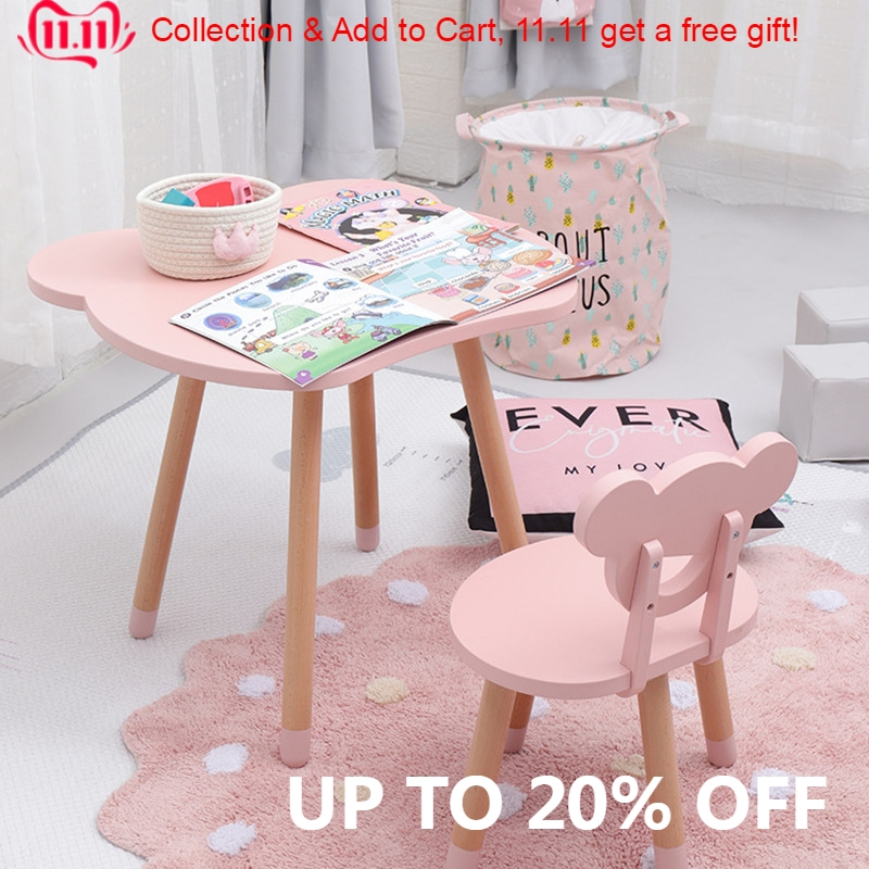Nordic Style High Quality Solid Wood Kids Wooden Table And Chair Set Pink White Grey MintGreen Drop Shipping 1 Table And 1 Chair