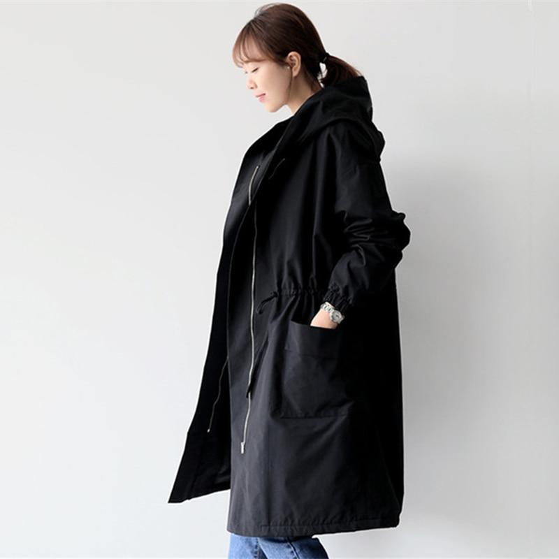 2019 New Autumn Winter Fleece Long   Trench   Coat Womens Long Sleeve Hooded Outerwear Coats Female Casual Streetwear Coat