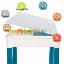 Drewniany stół dziecięcy wielofunkcyjny stół do nauki stół do gry dla dzieci kompatybilny z dużymi cząstkami
