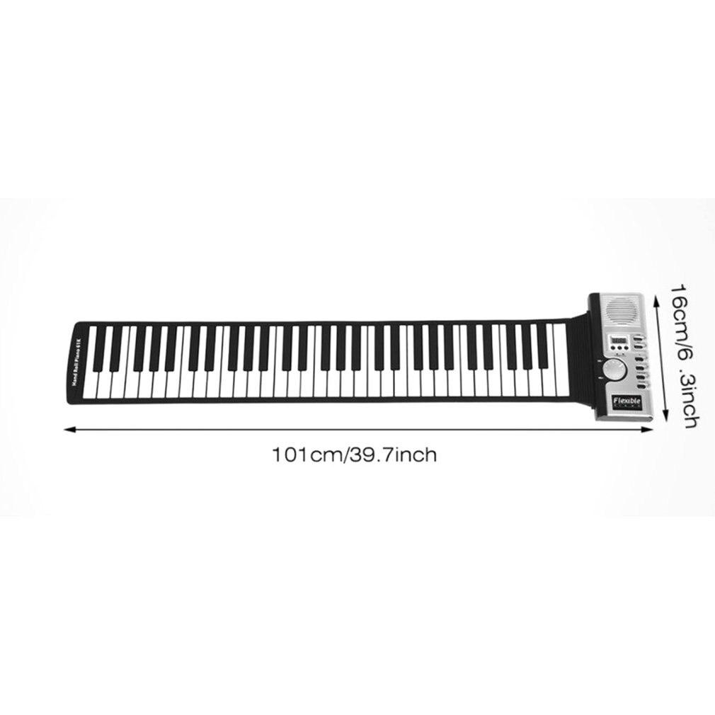 Waterproof Rechargeable Digital Keyboard Piano 61 Keys 128 Tones Portable Flexible Electronic Roll Up Piano Built-in Speaker