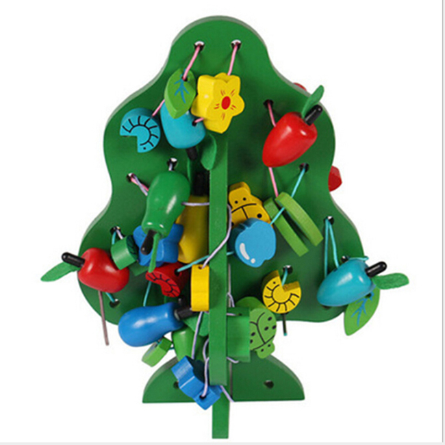 Green Tree Shape Wooden Beads String Puzzle Creative Handwork Educational Toys Crafts Beads Toys Stringing Threading Toys New
