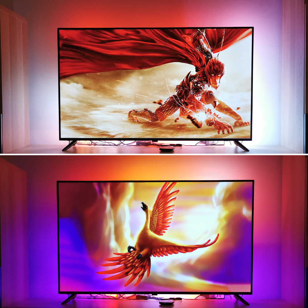 "4K Ambilight Kit de TV dinámica de luz LED TV retroiluminación ambiente iluminación bias para fuentes HDMI 40 ""-80"" TV casa teatro No PC"