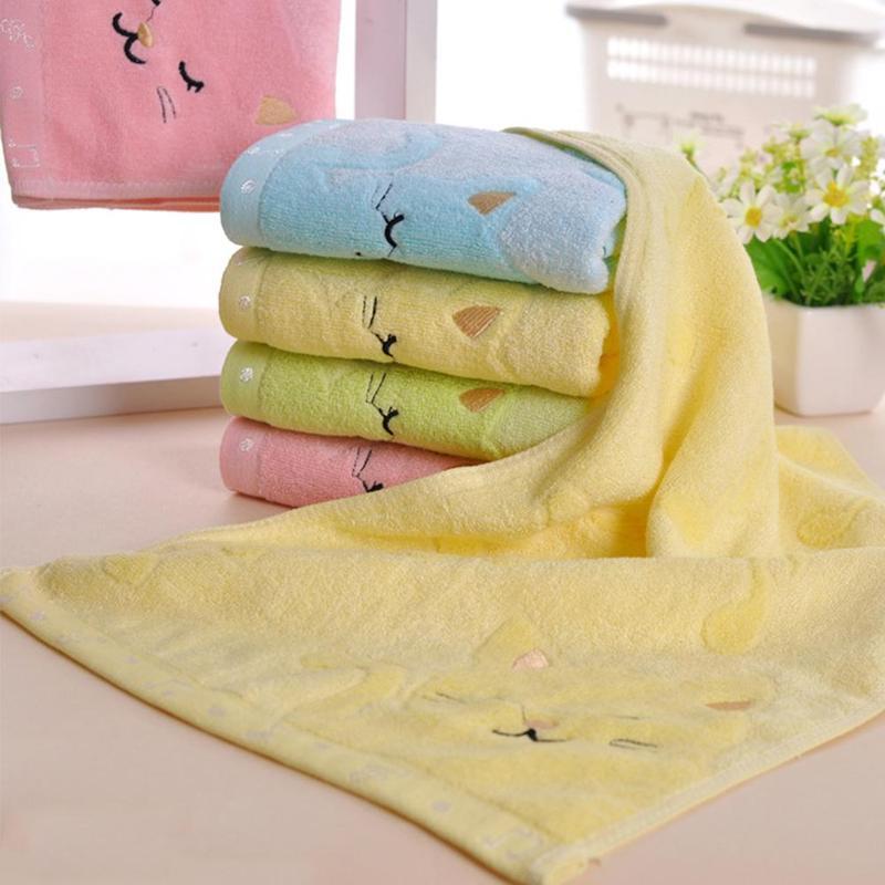 1pcs Baby Towel Pure Cotton Bamboo Fibre Bath Towel Super Absorbent Cartoon Baby Face Towel Baby Bath Accessories