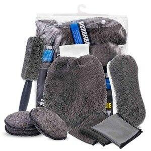 Image 1 - 9 Stks/set Auto Cleaning Tools Microfiber Handdoek Autoband Borstel Zachte Absorptie Handschoen Detaillering Auto Motorfiets Washer Care Set