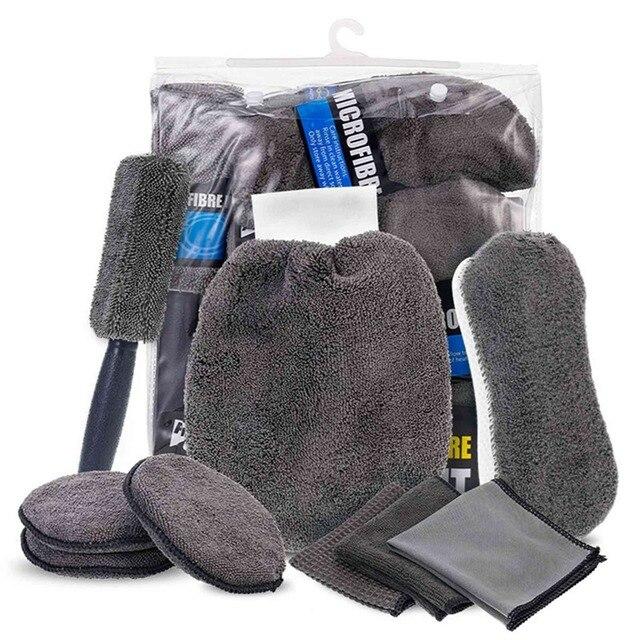 9 Stks/set Auto Cleaning Tools Microfiber Handdoek Autoband Borstel Zachte Absorptie Handschoen Detaillering Auto Motorfiets Washer Care Set