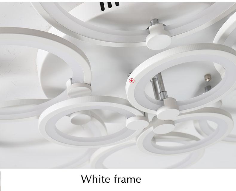 Branco & preto moderno led lustre para