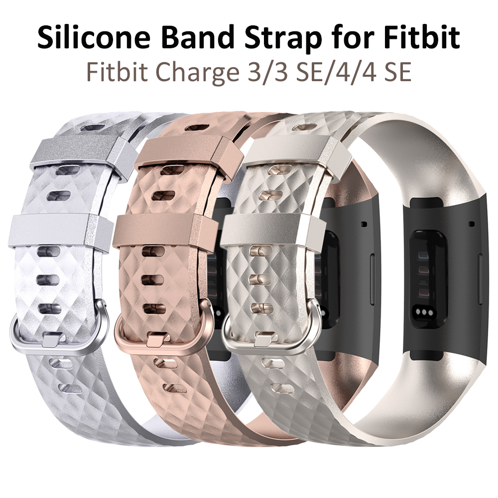 Rose Gold Silver Sport Wristbands For Fitbit Charge 4 / Fitbit Charge 3/ Fitbit Charge 3 SE Silicone Bands Man Large Small Woman