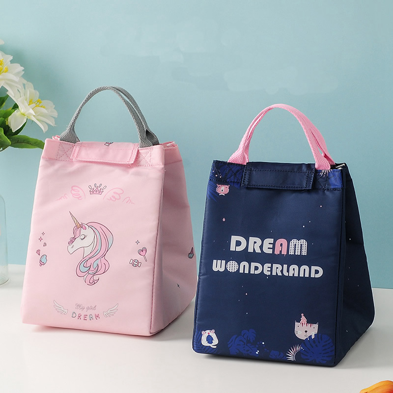 Cartoon Animal Unicorn Lunch Bag Portable Thicken Thermal Food Cooler Picnic Lunch Box Women Kids Big Capacity Insulated Ice Bag