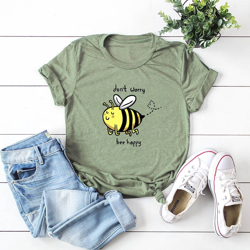 Don't Worry Be Happy Printed 100% Cotton Short Sleeve Women T-shirt Casual Soft Female T Shirt Women Plus Size Top 5XL
