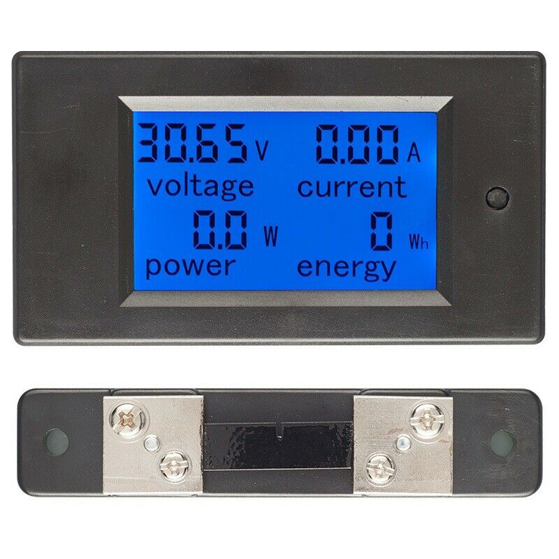 DC Digital Power Meter 6.5-100V LCD Voltage Current Watt Kwh Energy Meter Battery Testers FKU66