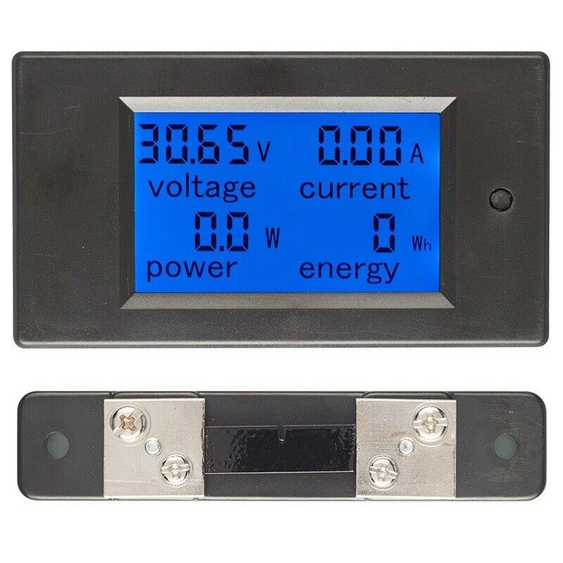DC Digital Power Meter 6.5-100V LCD Voltage Current Watt Kwh Energy Meter Battery Testers FKU66