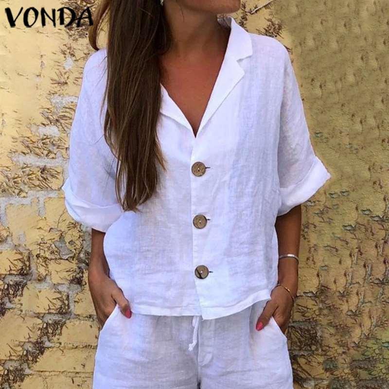White Tunic Women Tops Vintage Casual Loose Blouse VONDA 2020 Summer Beach Shirts Bohemian Sexy Party Tops Plus Size Blusa