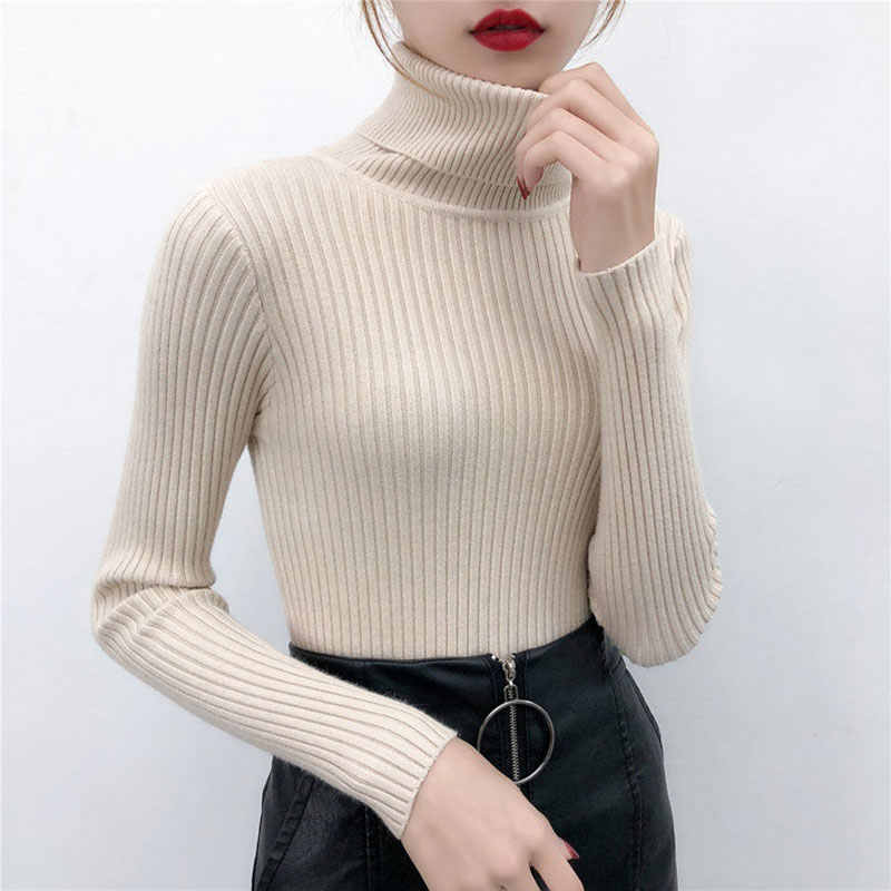 Bella Philosophy 2019 Autumn Winter Turtleneck Slim Knitted Sweaters Jumper Solid Pullovers Simple Wild Thickening Femme Sweater