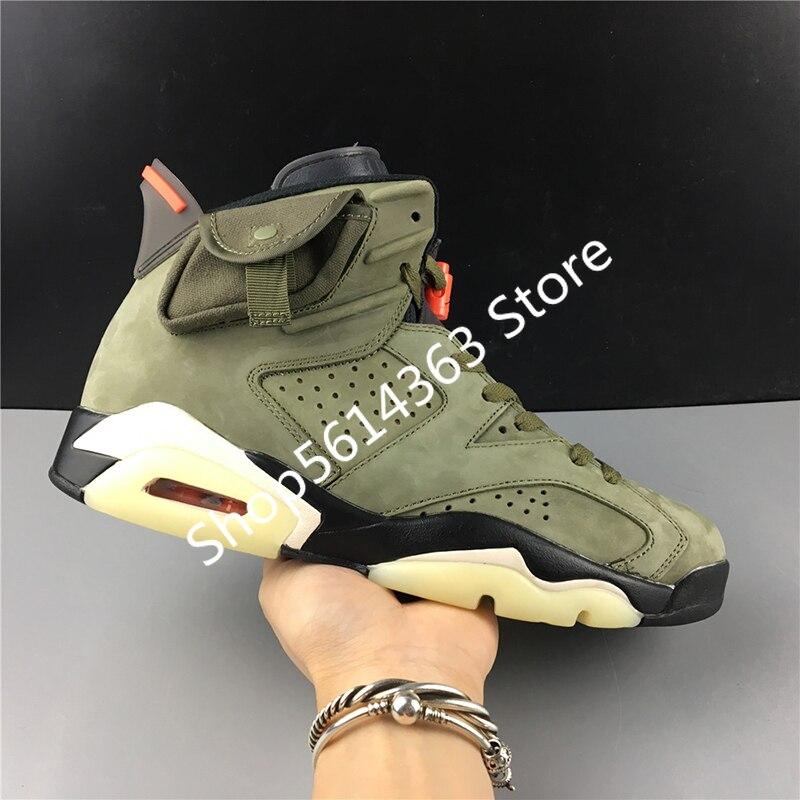 Travis Scott X Air Jordans 6 CN1084-200 6s Cactus Jack Men Basketball Sports Shoes Sneakers Suede Top Quality Retro Trainers