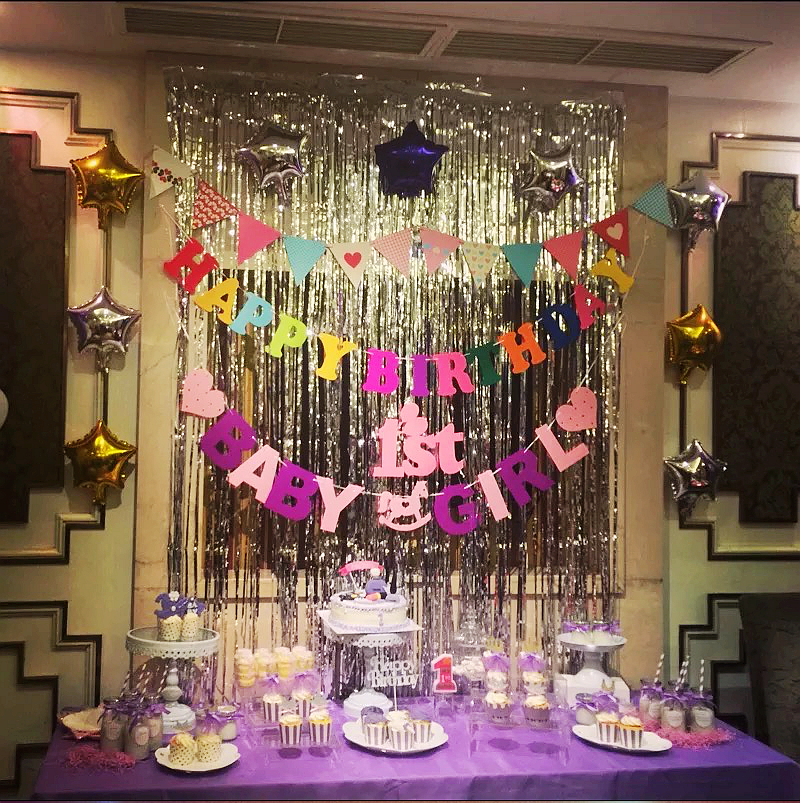 Summer Wedding Party Banquet Metallic Fringe Table Skirts Foil Tinsel Table Skirt For Luau Party Ball Decal