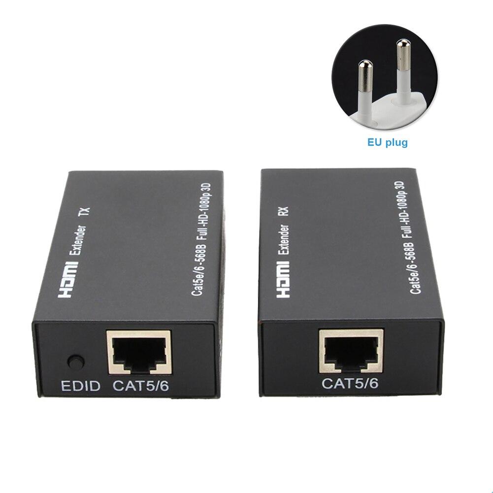 CAT6 60m Signal amplificateur adaptateur métal noir récepteur LAN Conversion HDMI Extender 1080P RJ45 Ethernet Port maison Extension