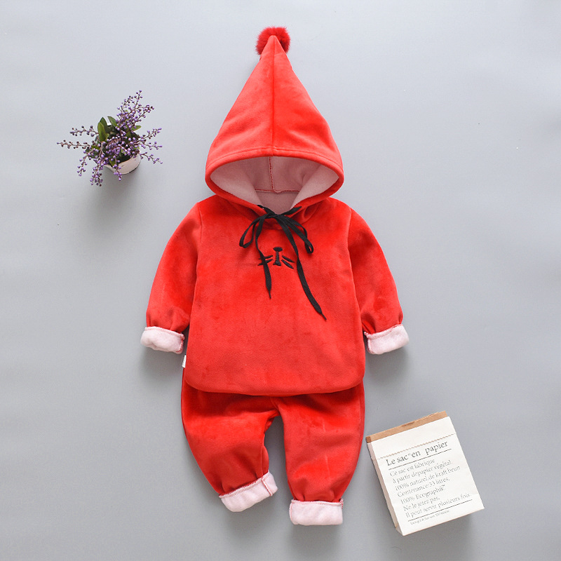 2019 Winter Baby Boys Clothing Sets Fashion Girls Warm Hooded Coats And Pants Suit Baby Thick Velvet Tracksuit Kids Clothes Set 4