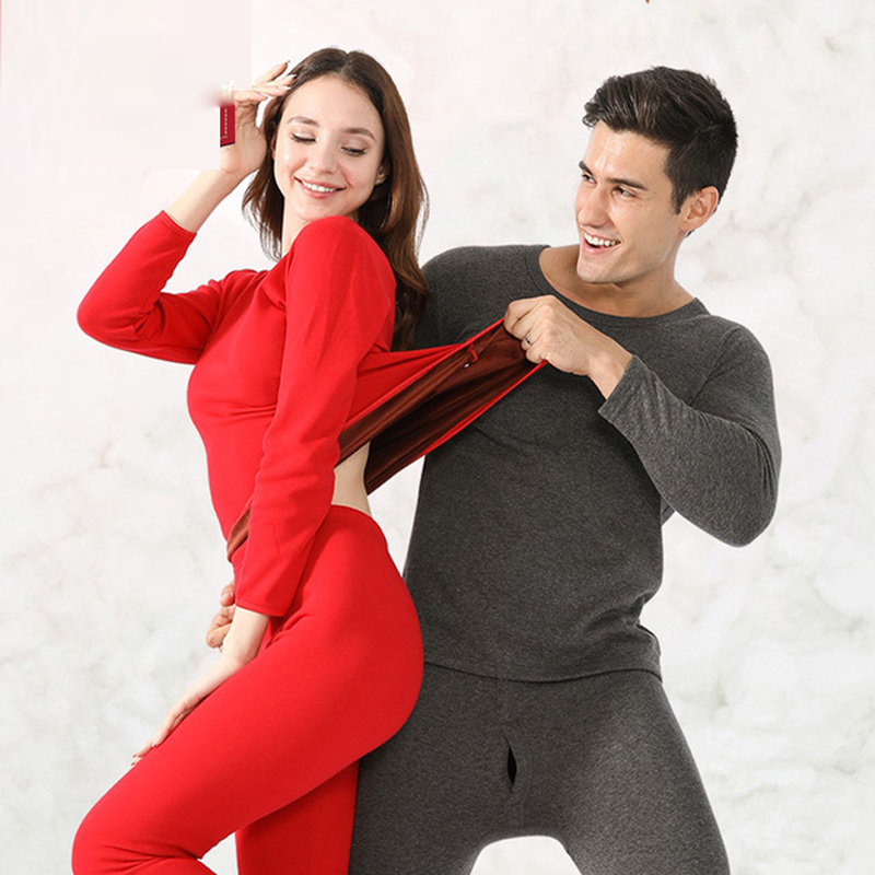 Hot Sale Thick Fleece Thermal Underwear For Men Women Long Johns Winter Thermo Shirt+pants Set Warm Clothes Set